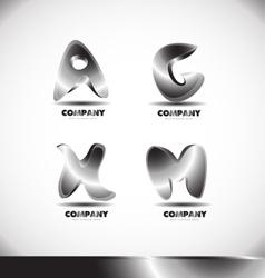 Metal 3d alphabet letter logo set vector