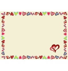 Frame of hearts on a yellow background vector