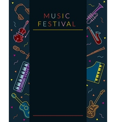 Music instruments objects poster frame vector
