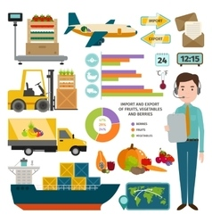 Infographic of worldwide shipping fruits vector