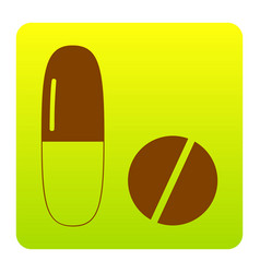 Medical pills sign  brown icon at green vector