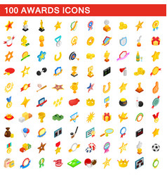 100 awards icons set isometric 3d style vector image