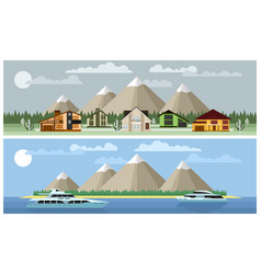 Two background mountain landscapes vector