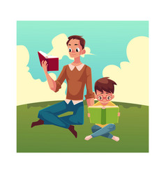 young man and little boy reading books sitting vector image
