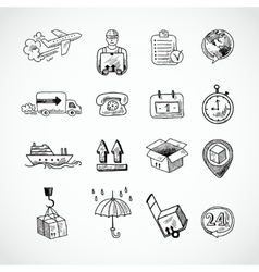 Logistic Hand Drawn Icons Set vector image