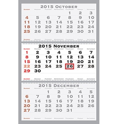 2015 november with red dating mark vector