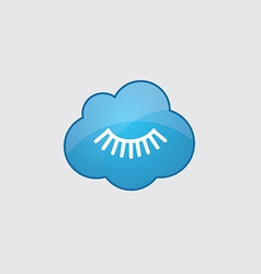 Blue cloud eyelash icon vector