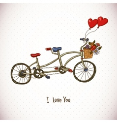Vintage floral card with tandem bike vector