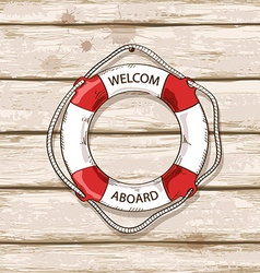 Lifebuoy on boards of ship deck background vector
