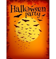 Orange halloween party background with bats and vector