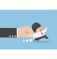 Businessman pulled by large hand vector