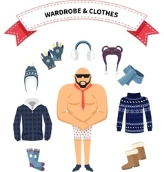 Wardrobe and clothes vector