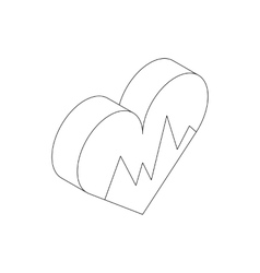 Heartbeat icon isometric 3d style vector