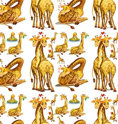 Seamless giraffe in different actions vector image