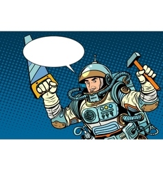 Astronaut with tools for repair vector image