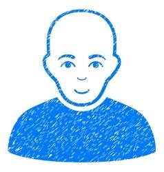 Bald man grainy texture icon vector