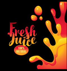 Banner with inscription fresh juices and splashes vector