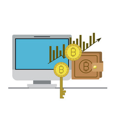 Bitcoin statistics bars growing currency and key vector