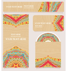 Branding design with bright ethnic pattern vector