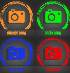 camera icon Fashionable modern style In the orange vector image