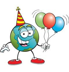 Cartoon Earth with Balloons vector image