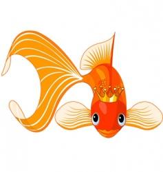 cartoon goldfish queen vector image vector image