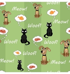 Cat and dog pattern2 vector image vector image