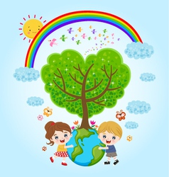 Children earth rainbow vector