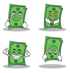 dollar character cartoon style set collection vector image vector image