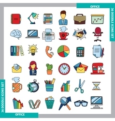 Doodle color icons vector image vector image