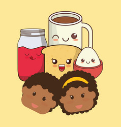face kids breakfast kawaii icons vector image