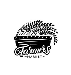 Farmers market hand written lettering logo label vector