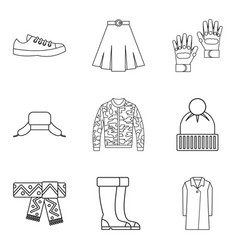 fashion winter clothes icon set outline style vector image