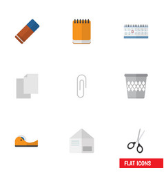 Flat icon equipment set of sheets trashcan vector