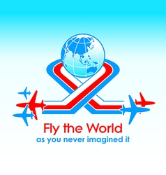 Fly around the world vector