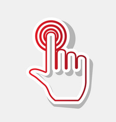 Hand click on button new year reddish vector