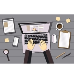 hands typing text on the laptop keyboard and using vector image vector image