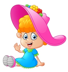 little girl cartoon vector image vector image