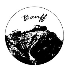 Miss cascade mountain with banff text vector