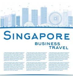 Outline Singapore skyline with blue landmarks vector image