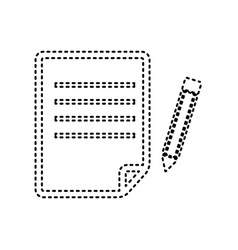 Paper and pencil sign black dashed icon vector