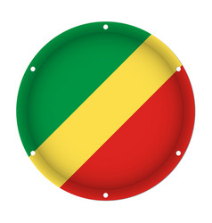 Round metallic flag of congo with screw holes vector