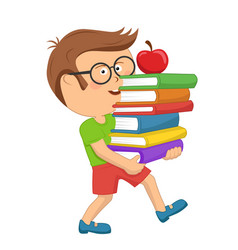 schoolboy carrying stack books with red apple vector image vector image