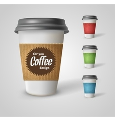 Set of takeaway coffee cups on white vector