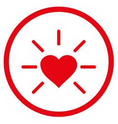 shiny love heart rounded icon vector image
