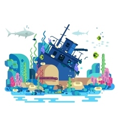 Sunken ship under water vector image vector image