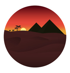 sunset in the desert vector i vector image