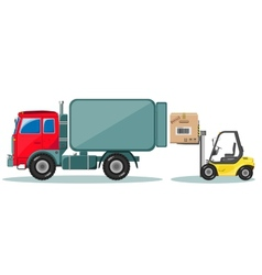 Truck and loader with box shipment icons set vector