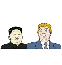 Trump vs jong-un flat design vector