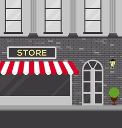 Urban scene with store building flat design vector
